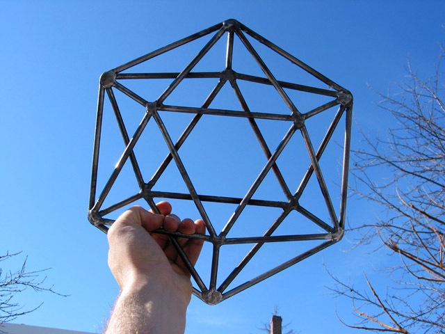 Icosahedron against sky